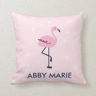 Pink and navy dot flamingo pattern cushion