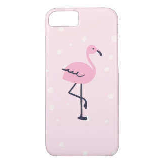Pink and navy flamingo phone case
