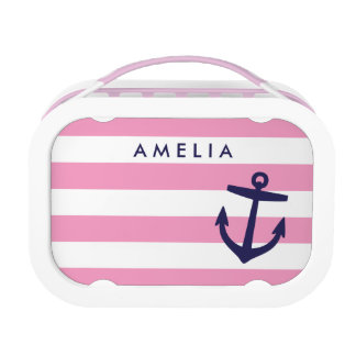 Pink and Navy Nautical Anchor Custom Monogram Lunch Box