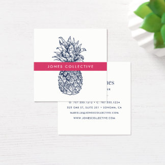 Pink and Navy Pineapple Square Business Card