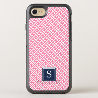 Pink and Navy Preppy Greek Pattern Monogram OtterBox Symmetry iPhone 7 Case
