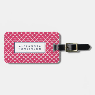Pink and Navy Scallop Pattern Luggage Tag