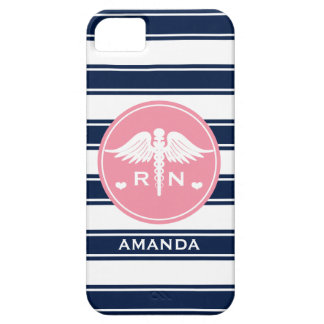 PINK AND NAVY STRIPE CADUCEUS NURSE RN BARELY THERE iPhone 5 CASE