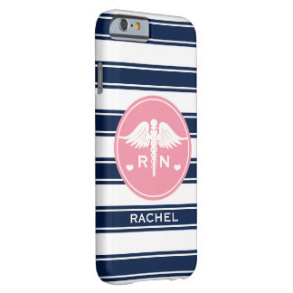 PINK AND NAVY STRIPE CADUCEUS NURSE RN BARELY THERE iPhone 6 CASE