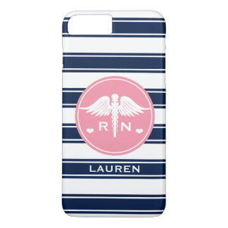 PINK AND NAVY STRIPE CADUCEUS NURSE RN iPhone 7 PLUS CASE
