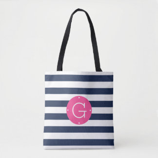 Pink and Navy Stripe Monogram Tote Bag