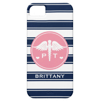 PINK AND NAVY STRIPE PHYSICAL THERAPY PT iPhone 5 CASE