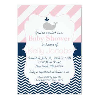 Pink and Navy Whale Baby Shower Invitation