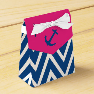 Pink and Navy Zigzag & Nautical Anchor Favor Box Favour Box