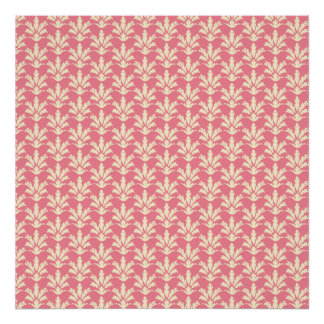 Pink and Off-white Floral Damask Pattern Print
