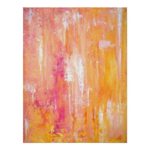 Pink and Orange Abstract Art Poster Print