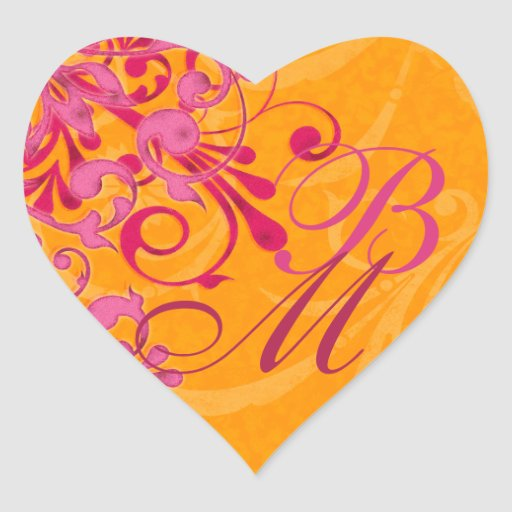 Pink and Orange Abstract Floral Envelope Seal Sticker