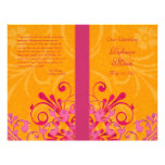 Pink and Orange Abstract Floral Wedding Program