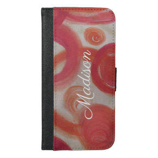 Pink and Orange Abstract Painting iPhone 6/6s Plus Wallet Case