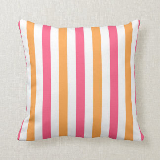 Pink and Orange and White Striped Throw Pillow Throw Cushions