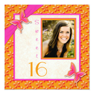 Pink and Orange Butterfly Sweet 16 PHOTO Invite