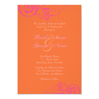 Pink and Orange Chic Wedding Invitation