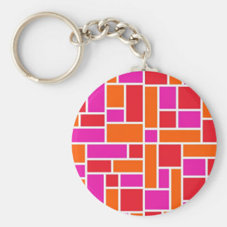 Pink and Orange Color Block Keychains
