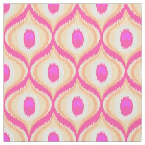 Pink and orange colour moroccan ikat design fabric