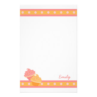 Pink and Orange  Cupcakes Stationery Design