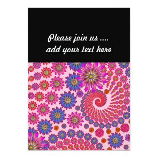Pink and Orange Floral Abstract Art 13 Cm X 18 Cm Invitation Card