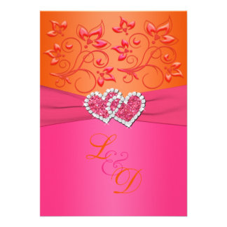 Pink And Orange Wedding Invitations 3 000 Pink And Orange