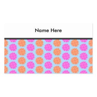 Pink and Orange Floral Pattern on Light Blue. Pack Of Standard Business Cards
