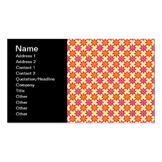 Pink and Orange Floral Pattern on Yellow Business Card Template