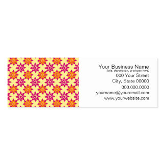 Pink and Orange Floral Pattern on Yellow Business Card