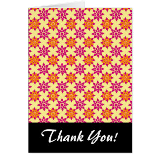 Pink and Orange Floral Pattern on Yellow Note Card