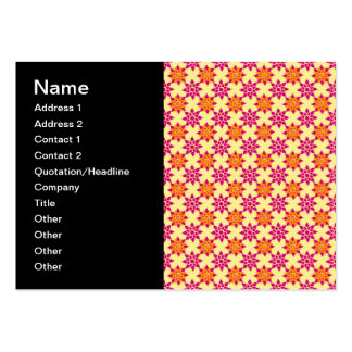 Pink and Orange Floral Pattern on Yellow Pack Of Chubby Business Cards