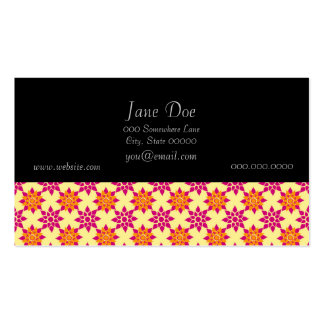 Pink and Orange Floral Pattern on Yellow Pack Of Standard Business Cards