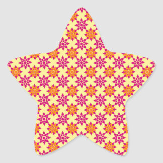 Pink and Orange Floral Pattern on Yellow Star Sticker
