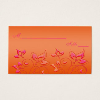 Pink and Orange Floral Placecards Business Card