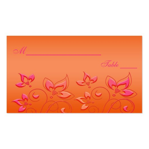 Pink and Orange Floral Placecards Business Card Templates