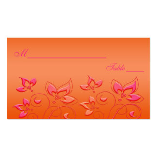 Pink and Orange Floral Placecards Pack Of Standard Business Cards