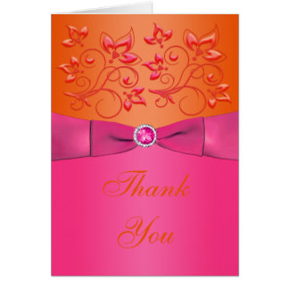 Pink and Orange Floral Thank You Card