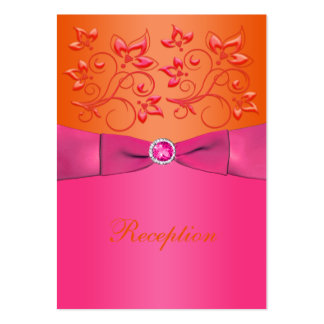 Pink and Orange Floral Wedding Enclosure Card Business Card Template