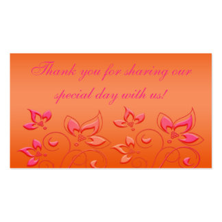 Pink and Orange Floral Wedding Favor Tag Business Card Template
