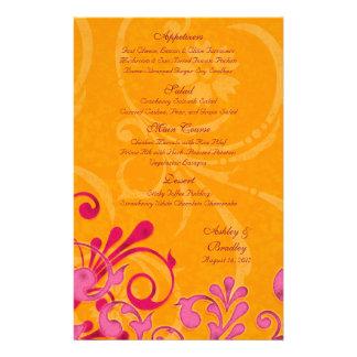 Pink and Orange Floral Wedding Menu Card 14 Cm X 21.5 Cm Flyer