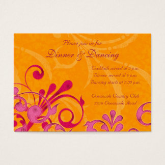 Pink and Orange Floral Wedding Reception Card