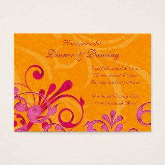Pink and Orange Floral Wedding Reception Card