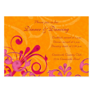 Pink and Orange Floral Wedding Reception Card Business Card Templates