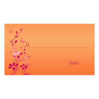 Pink and Orange Floral with Butterflies Placecards Business Cards