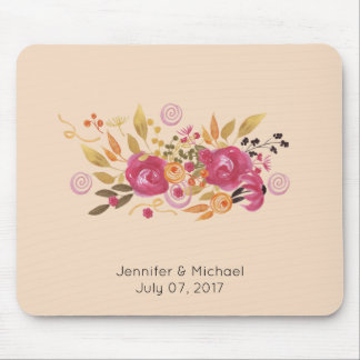 Pink and Orange Flower Bouquet on Peach Background Mouse Mat