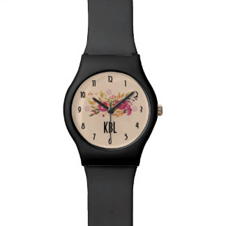 Pink and Orange Flower Bouquet on Peach Background Watch