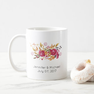 Pink and Orange Flower Bouquet Wedding Coffee Mug