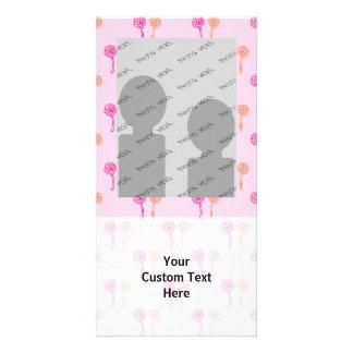 Pink and Orange Flower Pattern. Customised Photo Card