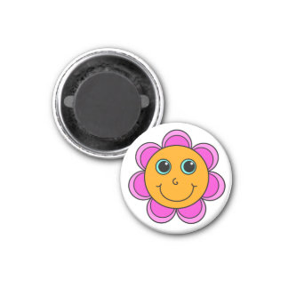 Pink and Orange Flower Smiley Face 3 Cm Round Magnet