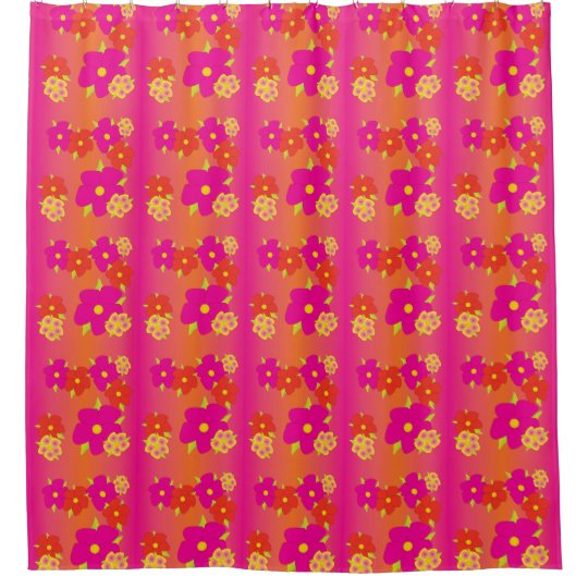 Pink And Orange Flowered Shower Curtain